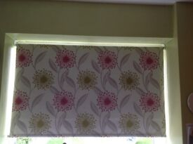 2 olive green, pink and cream roller blinds