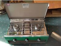 Camping cooker with grill and Tilley lamp