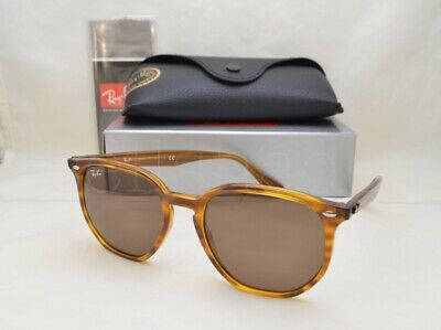 Ray Ban RB4306 (RB4306-820/73 54) Stripped Red Havana with Dark Brown Lens Dark Brown Lens