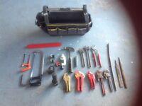 Selection of Plumbers hand tools and tool bag