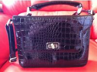 Miss Selfridge black painted handbag