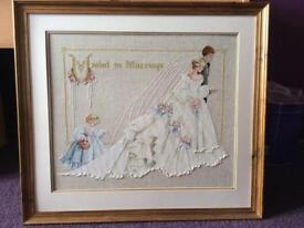Hand stitched wedding / marriage art