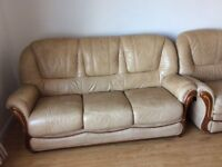 Leather sofa and 2 armchairs (1 electric recliner)