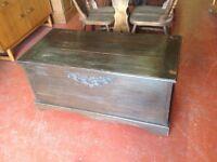 Vintage oak trunk/blanket box