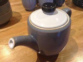 Denby Jet Tea Pot and 6 Mugs
