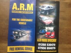 Abandoned vehicle removal solutions 01268 530470 on private land & property