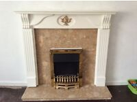 Marble effect hearth and surround. Wooden mantle piece