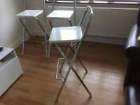 John Lewis Verona Folding chairs x3 stools chrome white will deliver within 15 miles Derby