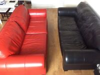 TWO X 4 X SEATER COUCHES SOFAS RED AND BLACK