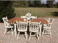 Shabby Chic Solid Pine Extending Farmhouse Dining Table with 6 Chairs in Farrow and Ball