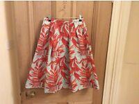 Floral print mint/orange plants skirt H&m size 6