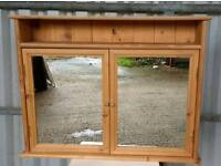 Large Pine Mirrored Bathroom Cabinet
