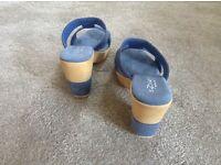 Blue suede ladies sandals