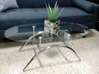 NEW OVAL GLASS TOP COFFEE TABLE FOR JUST $90