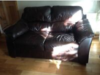 Leather two two seater sofas