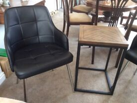 2 Black Chairs and Small Table, as new excellent condition.