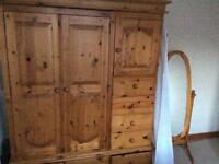 Pine wardrobes and mirror for sale