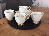 Set of 4 demi tasse coffee cups and saucers for sale