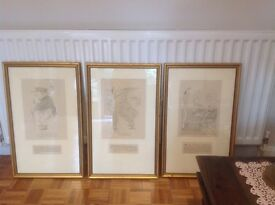 Set of 3 framed prints.