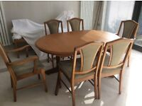 TEAK DINING TABLE AND 6 CHAIRS.