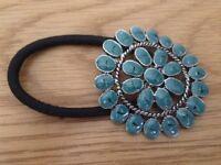 Turquoise Enamelled Flower Hair Tie NEW
