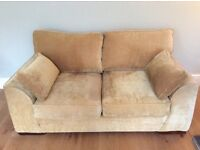 For Sale: 2 SEATER HONEY GOLD FABRIC SOFA - great condition
