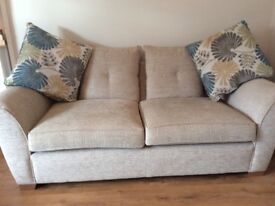 Nearly new 3 seater sofa footstool and two matching armchairs