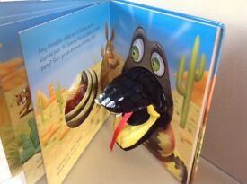 2 children's books with puppet feature one snake one meerkat