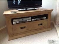 Oak effect tv stand/coffee table and two lamp tables.