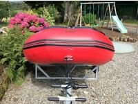 Inflatable Dinghy, Trailer, 2 Outboard Motors and Accessories