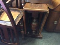Vintage oak dropleaf dining table & 4 chairs