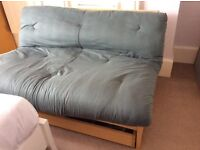 Two seater, trifold birch sofa bed/ futon mattress originally from the Futon Company, hardly used