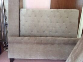 King size Chenile Biege Headboard frame. Very good condition .