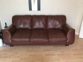 Brown Leather Suite , 3 Seater + 2 Seater