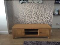 Solid light oak tv table