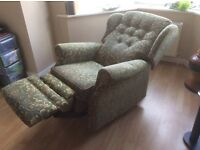 Recliner chain, Green floral, handle operated, fully reclines, Cigarette & match resistant, VGC