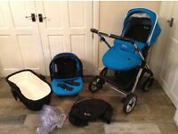 Silver cross Pioneer travel system in blue