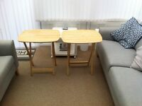 two solid wood folding tables, tv dinners,laptops/tablets,convenient for lots uses,