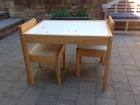 IKEA LÄTT Children's table with 2 chairs White/pine