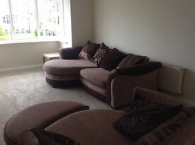 3 seater sofa with swivel chair and footstool