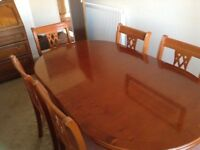 GENUINE YEW DINING TABLE & 6 CHAIRS