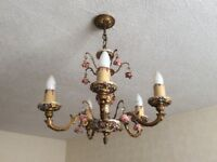 Vintage Capodimonte Style Chandelier and Matching Lamp