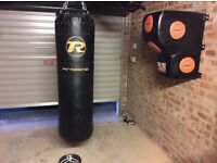 Proffessional punchbags - double end speed bag , leg raise straps , gloves and sit up bench