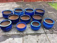 Large blue ceramic garden pots for sale