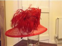 Ladies red asymmetric formal hat