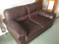 Brown Next Leather 2 Seater Sofa