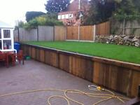 Fencing, slabs, turf, garden clearance,trees, gravel fence panels. Decking block paving for