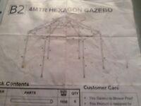 4 metre hexagonal gazebo