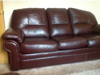 Genuine Brown Leather sofa and matching chair. Very good condition