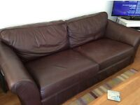 Marks and Spencer brown leather sofa